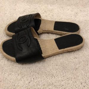 CHANEL Shoes - Chanel black leather espadrille slide